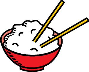 2 chopsticks in bowl of rice